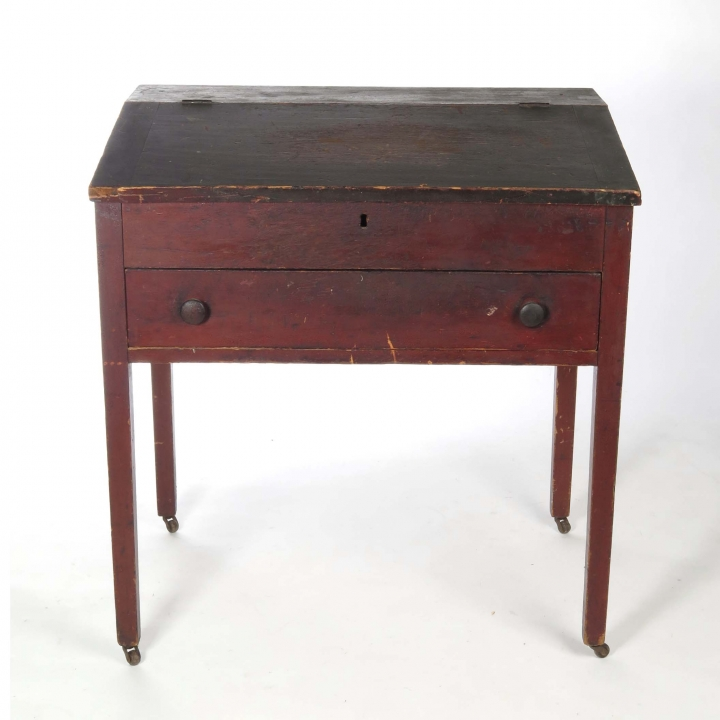 Antique 19th century primitive plantation desk on castors - SOLD - Antique 19th Century Primitive Plantation Desk On Castors